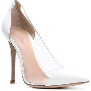 White clear heel pumps